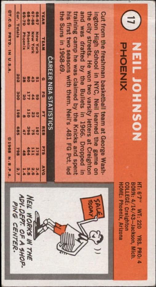 1970-71 Topps #17 Neil Johnson back image