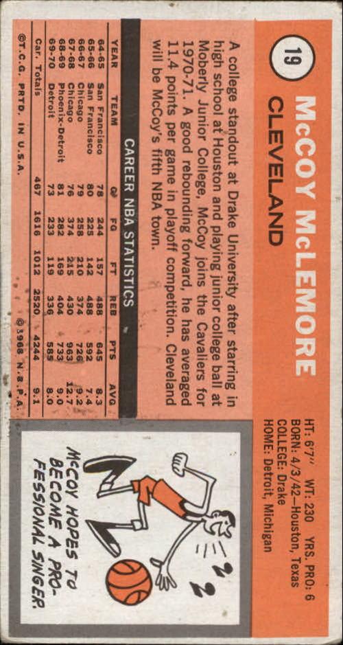 1970-71 Topps #19 McCoy McLemore back image