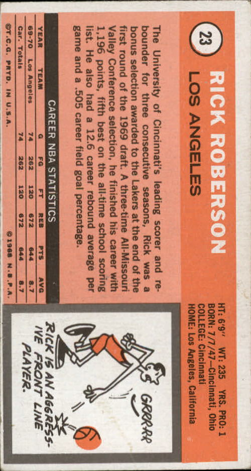 1970-71 Topps #23 Rick Roberson back image