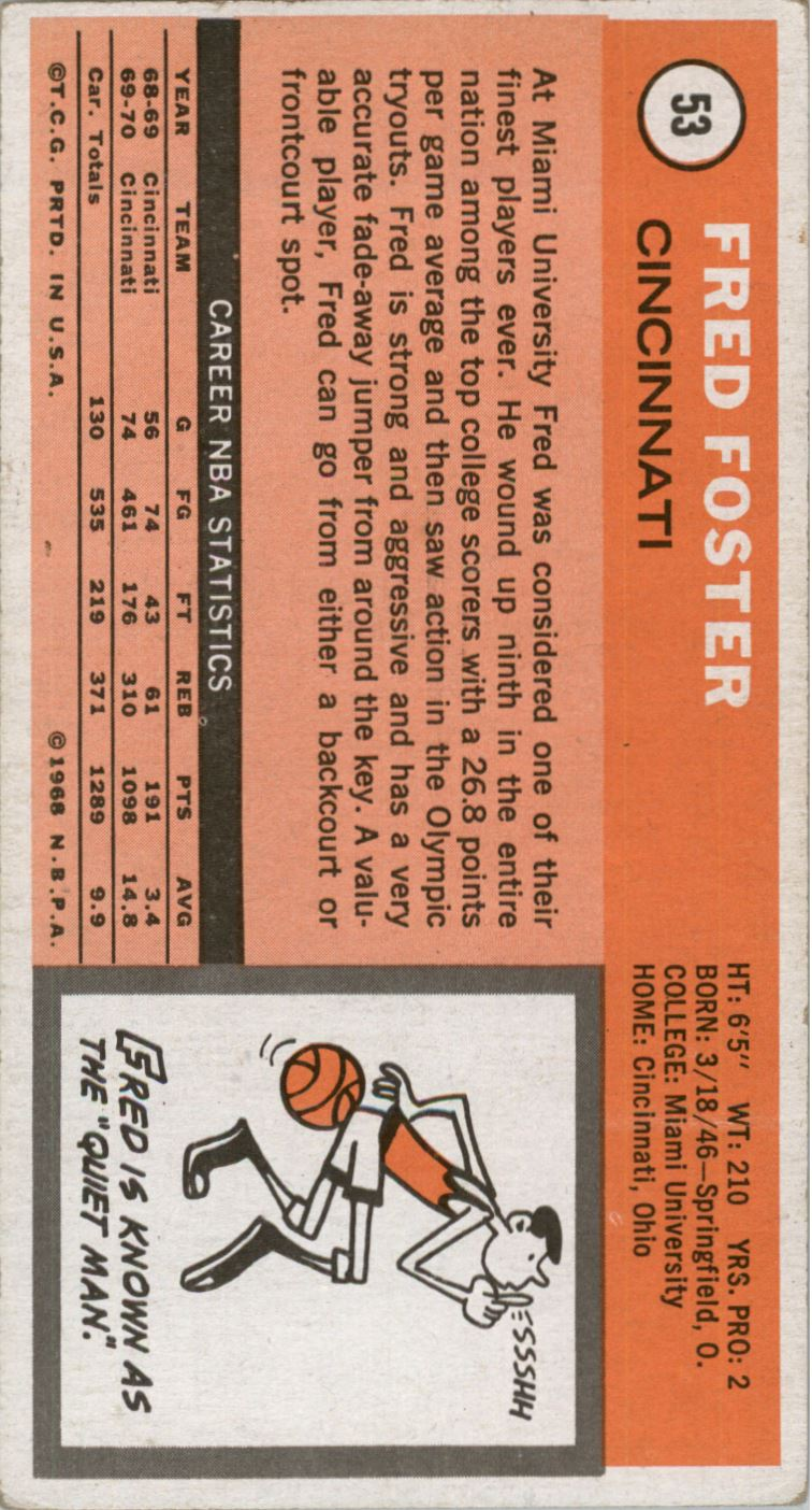 1970-71 Topps #53 Fred Foster back image