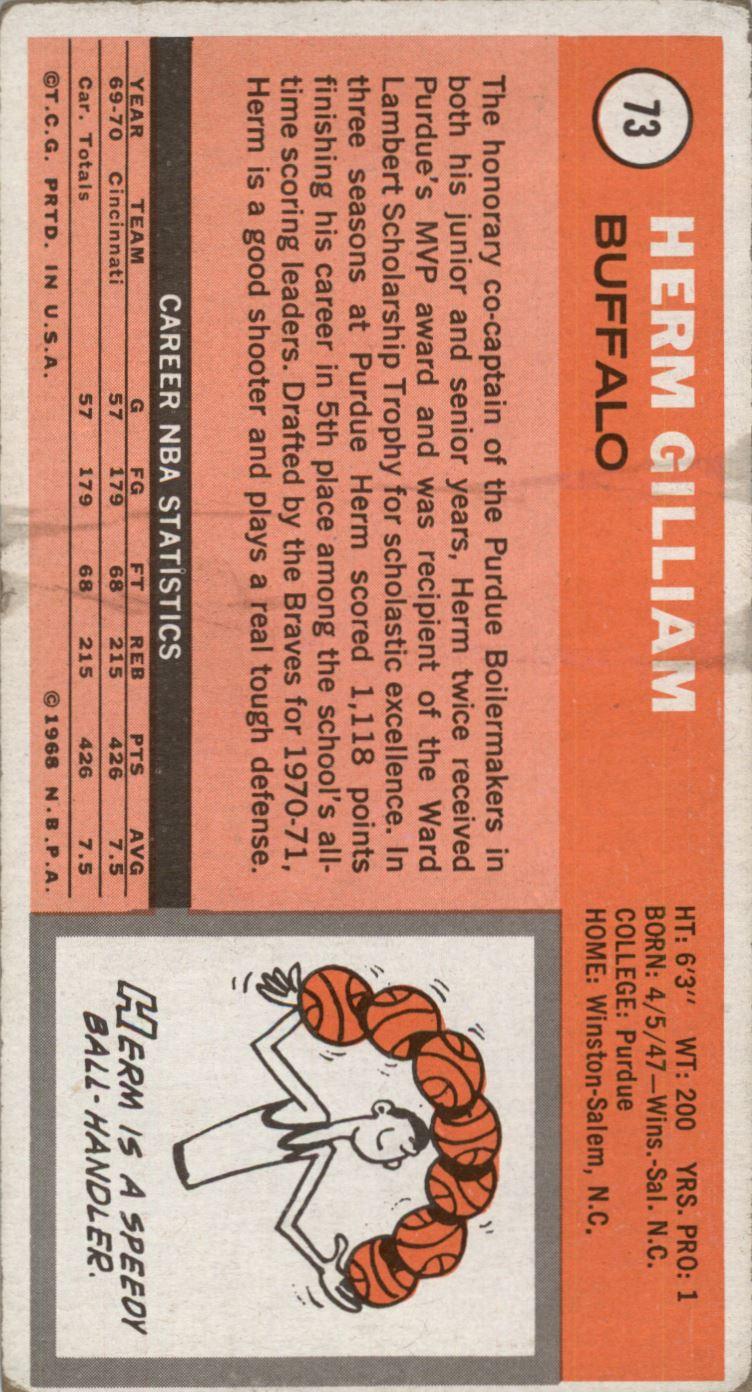 1970-71 Topps #73 Herm Gilliam back image