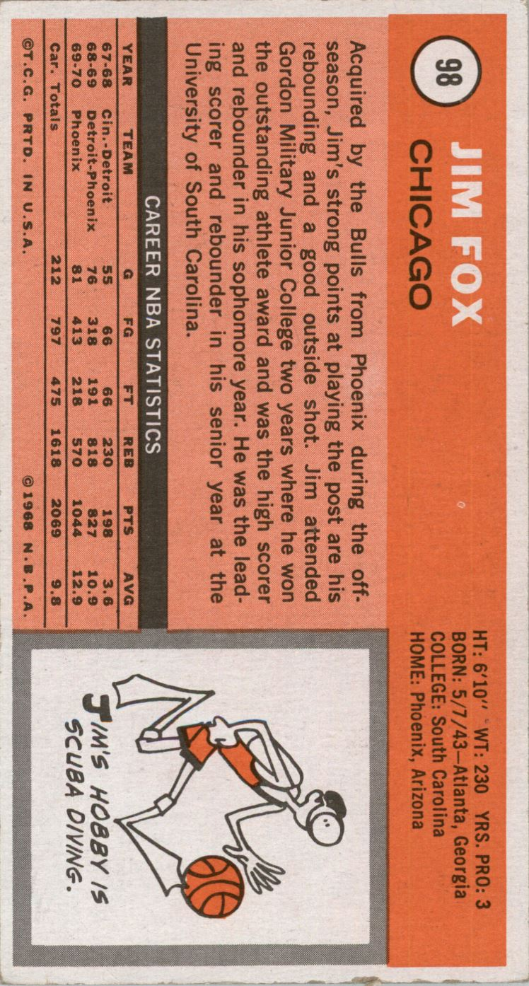 1970-71 Topps #98 Jim Fox back image