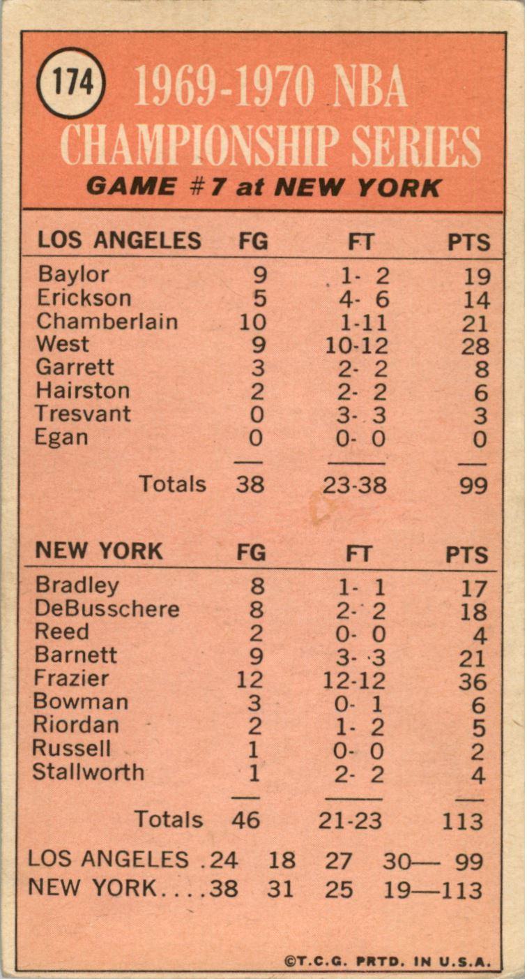 1970-71 Topps #174 Playoff G7/Walt Frazier back image
