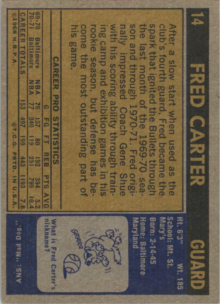1971-72 Topps #14 Fred Carter back image