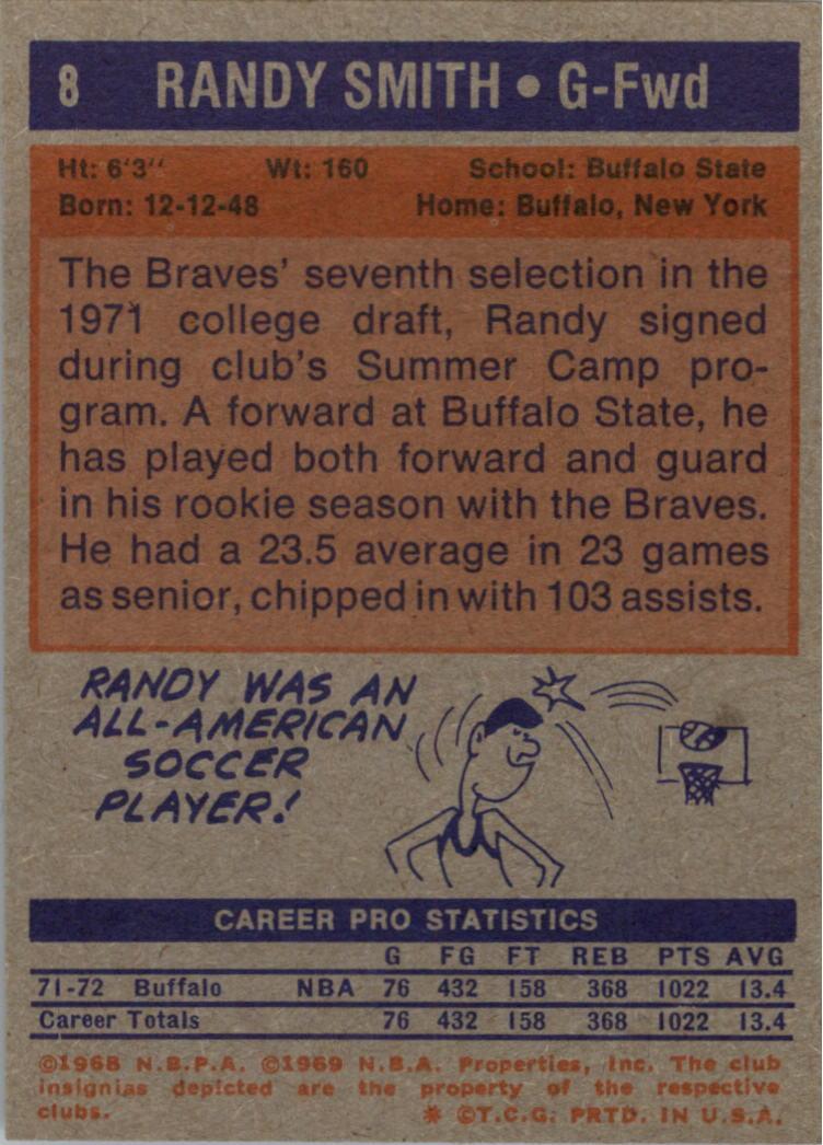 1972-73 Topps #8 Randy Smith RC back image