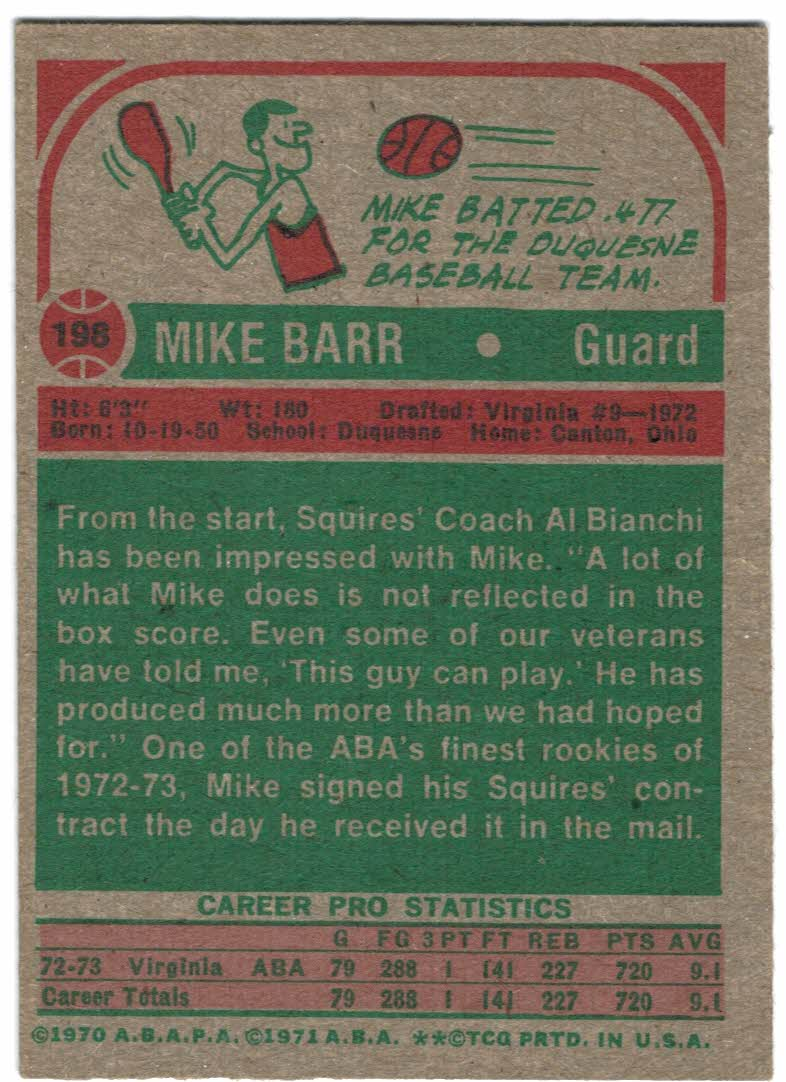 1973-74 Topps #198 Mike Barr back image