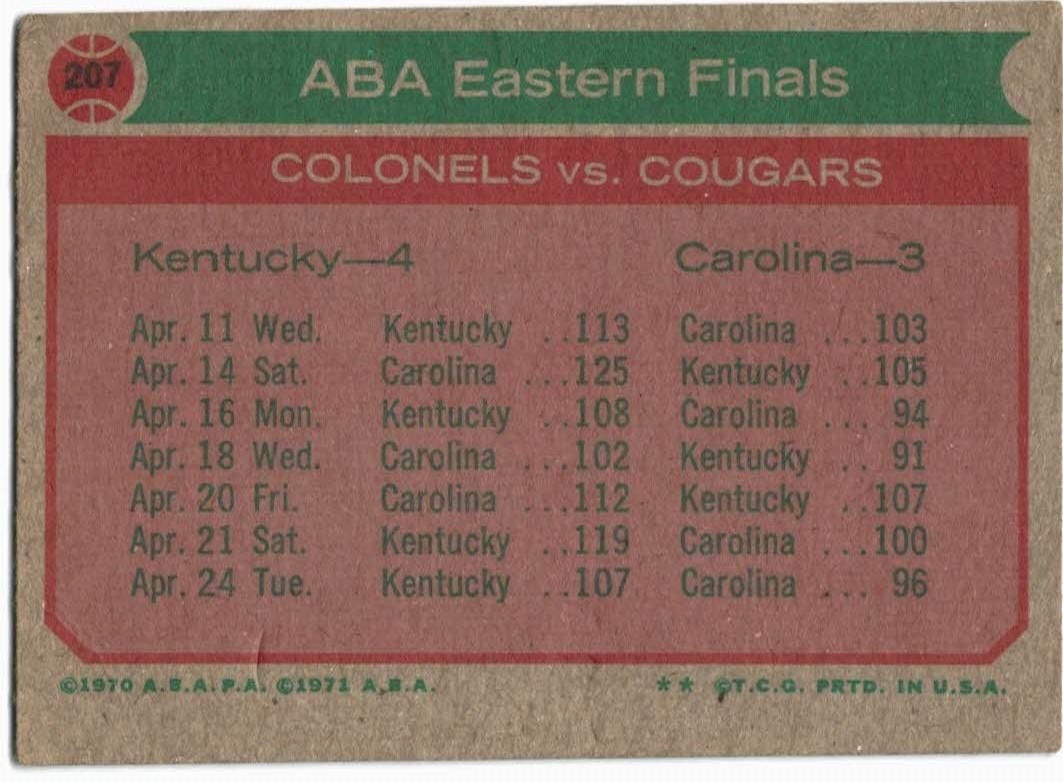 1973-74 Topps #207 Eastern Finals/Artis Gilmore back image