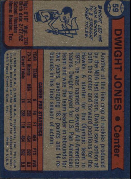 1974-75 Topps #59 Dwight Jones RC back image