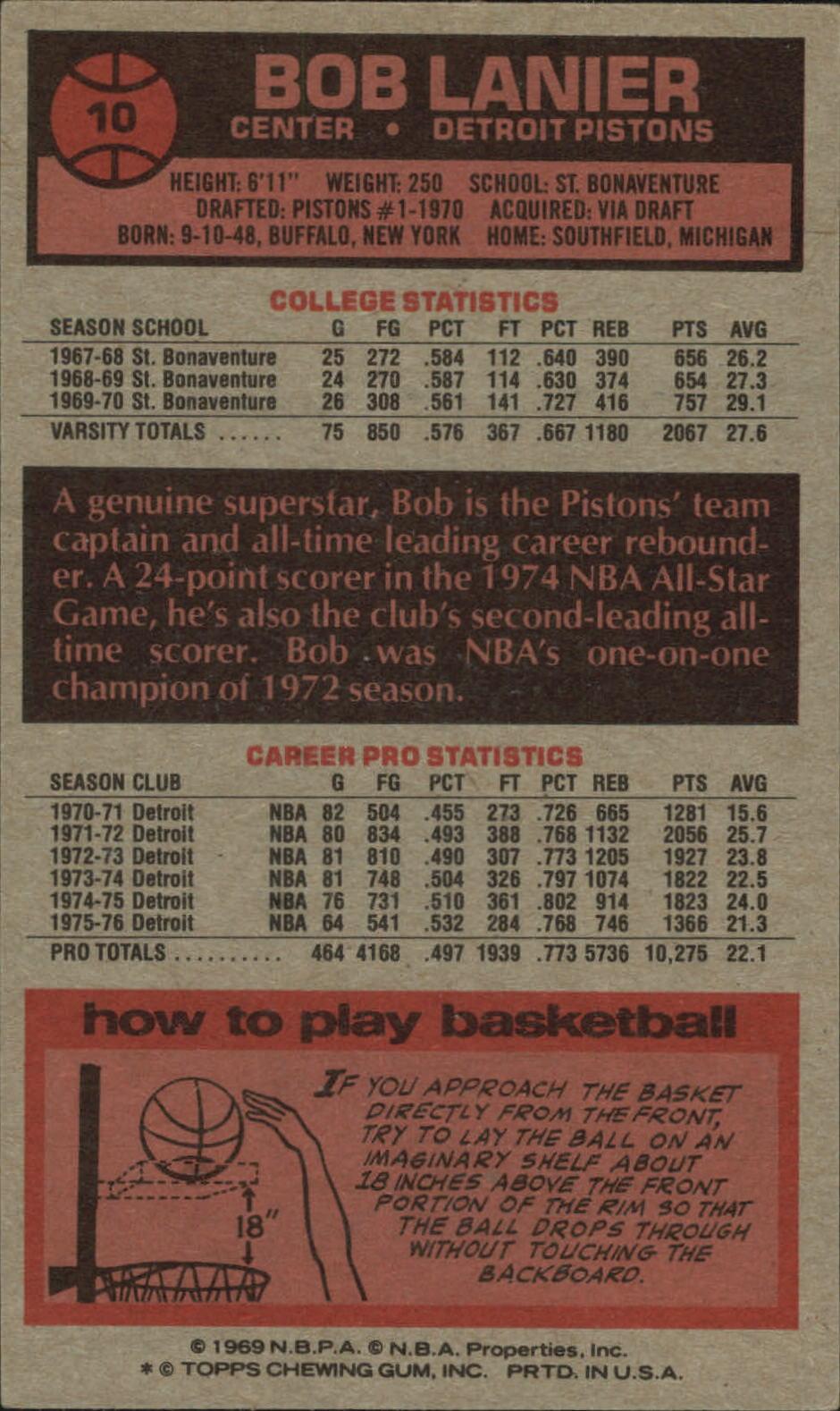 1976-77 Topps #10 Bob Lanier back image
