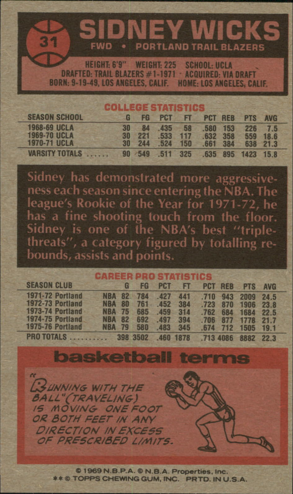 1976-77 Topps #31 Sidney Wicks back image