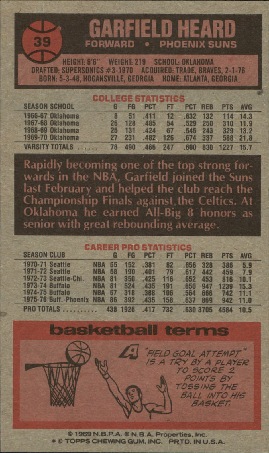 1976-77 Topps #39 Garfield Heard back image