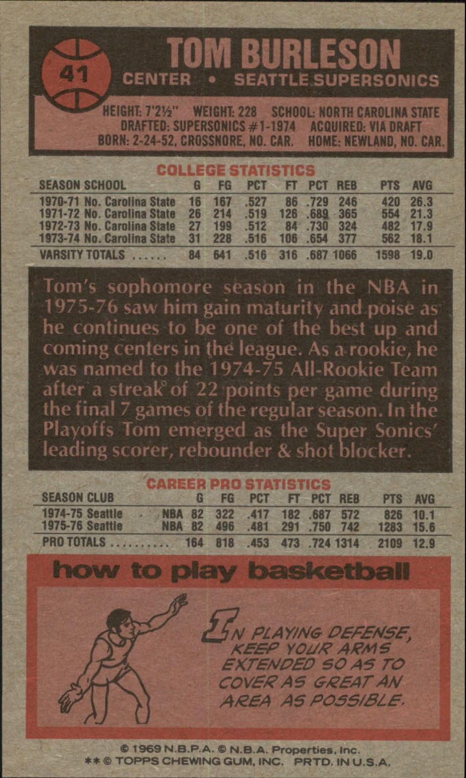 1976-77 Topps #41 Tom Burleson back image