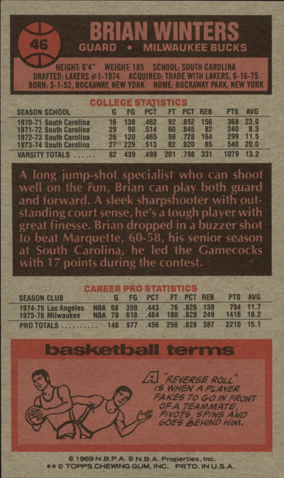 1976-77 Topps #46 Brian Winters back image