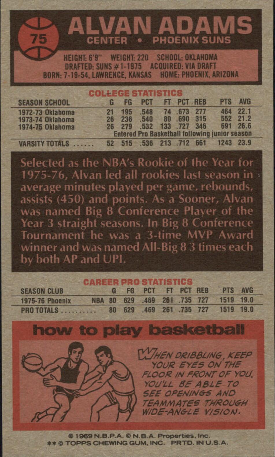 1976-77 Topps #75 Alvan Adams RC back image