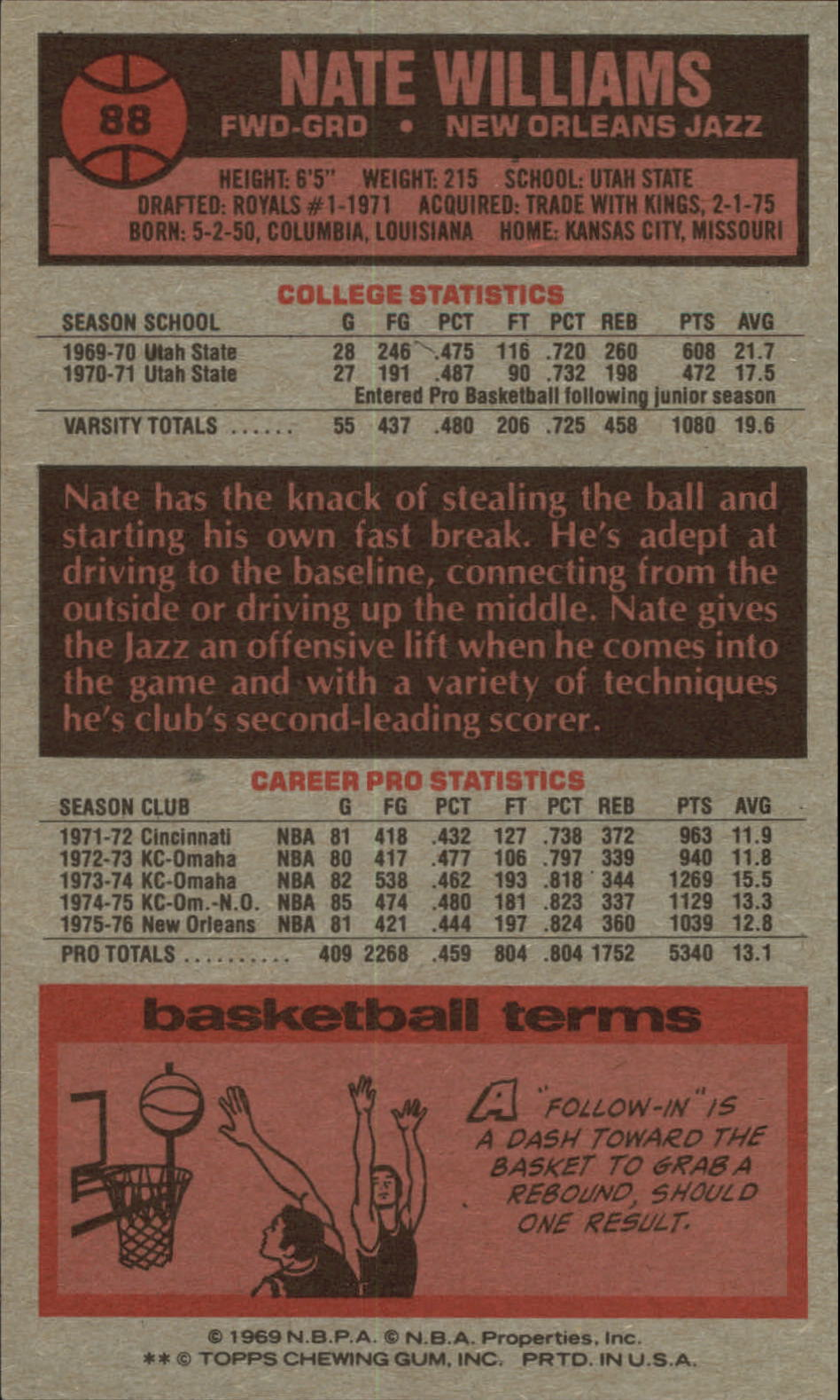 1976-77 Topps #88 Nate Williams back image