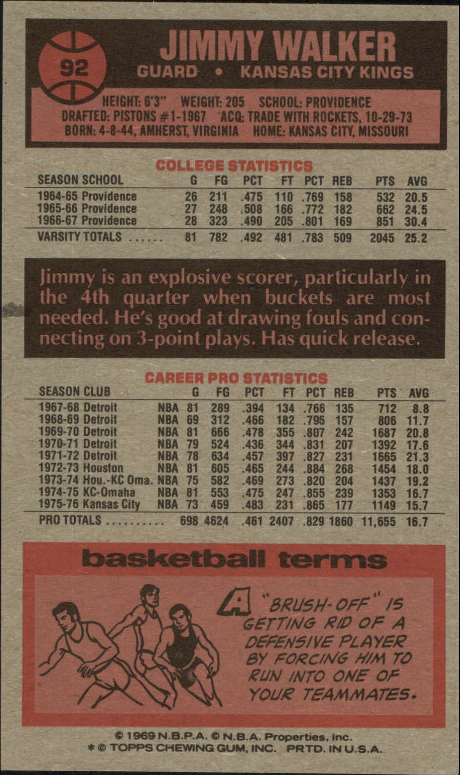 1976-77 Topps #92 Jimmy Walker back image