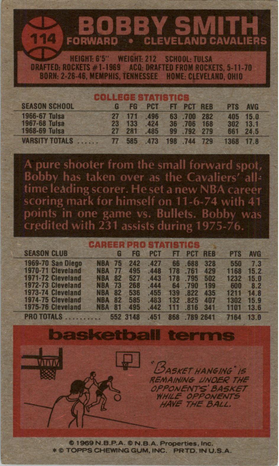 1976-77 Topps #114 Bobby Smith back image