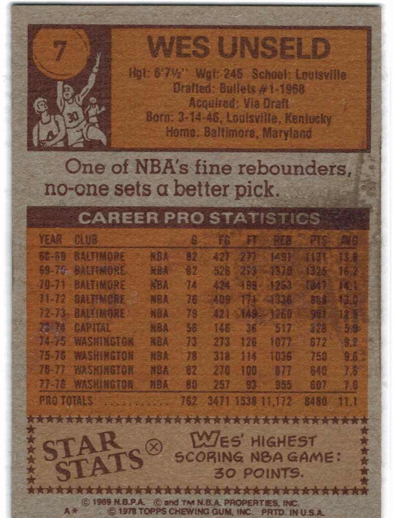 1978-79 Topps #7 Wes Unseld back image