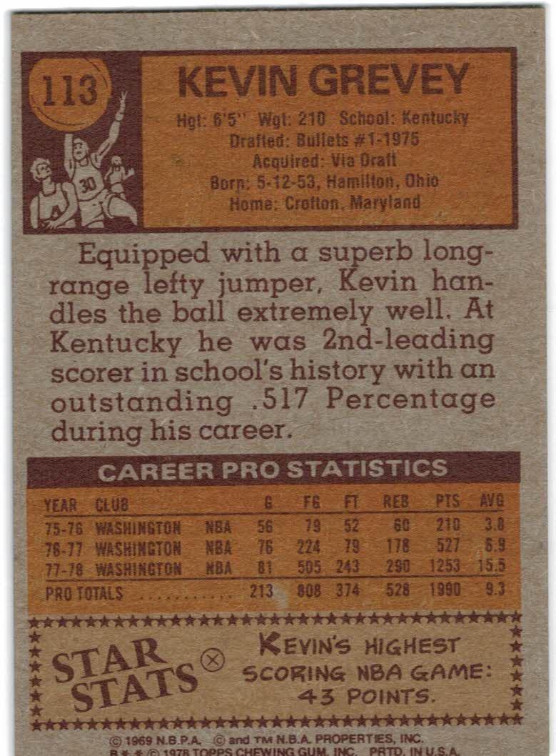 1978-79 Topps #113 Kevin Grevey back image