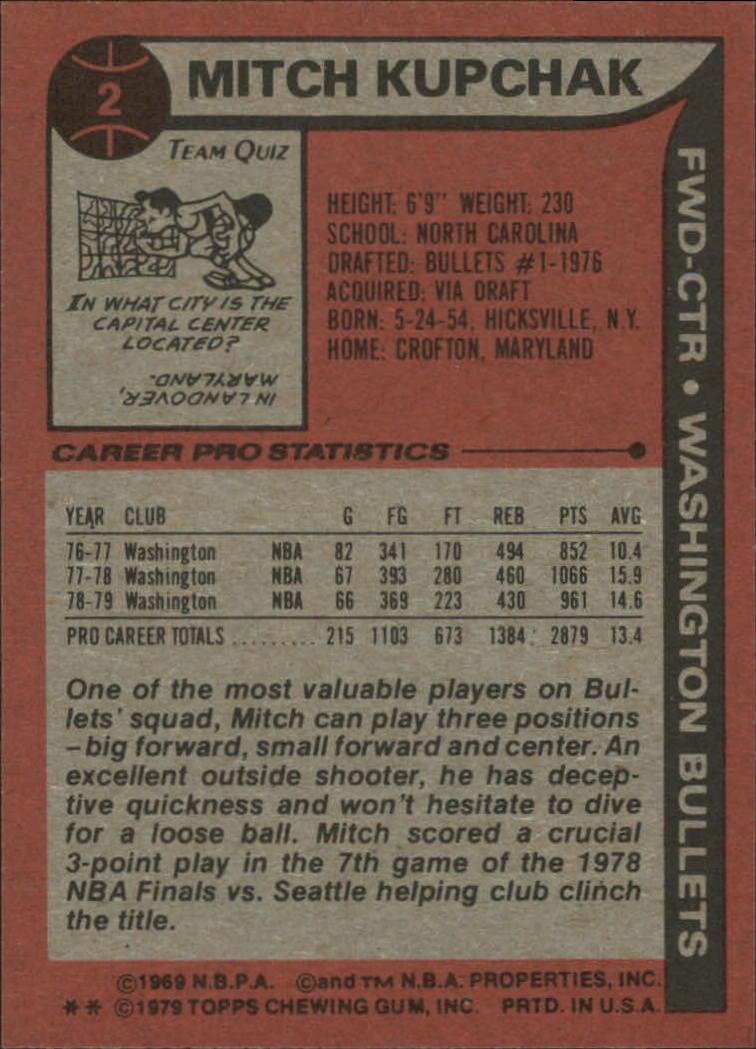 1979-80 Topps #2 Mitch Kupchak back image
