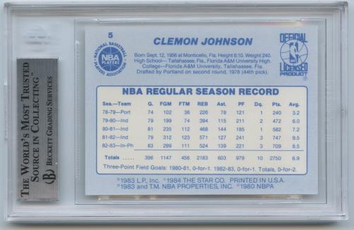 1983-84 Star #5 Clemon Johnson SP back image