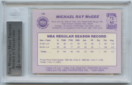1983-84 Star #19 Mike McGee SP back image