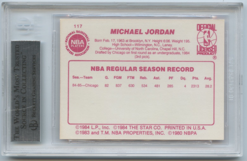 1985-86 Star #117 Michael Jordan ! back image