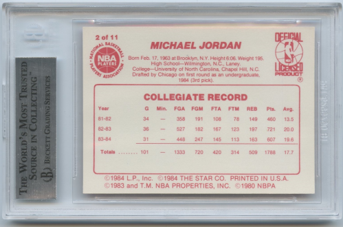 1985-86 Star All-Rookie Team #2 Michael Jordan back image