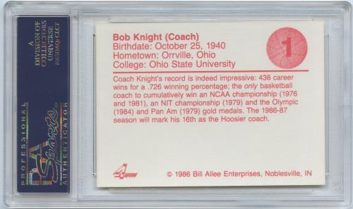 1986-87 Indiana Greats I #1 Bobby Knight CO back image