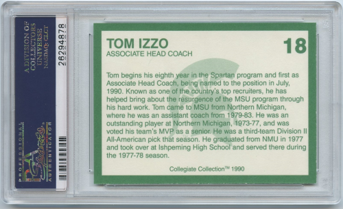 1990-91 Michigan State Collegiate Collection 20 #18 Tom Izzo CO back image