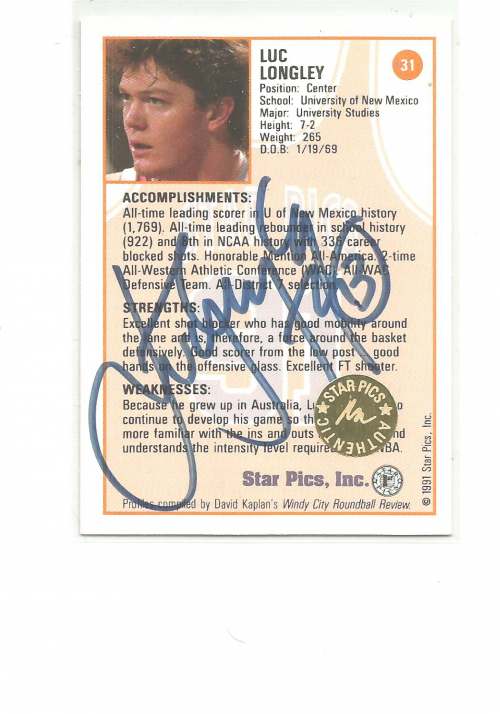 1991 Star Pics Autographs #31 Luc Longley back image
