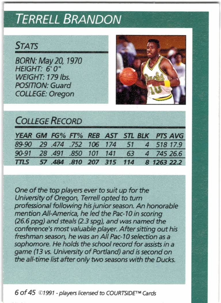 1991 Courtside Autographs #6 Terrell Brandon back image