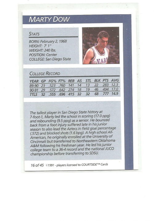 1991 Courtside Autographs #16 Marty Dow back image