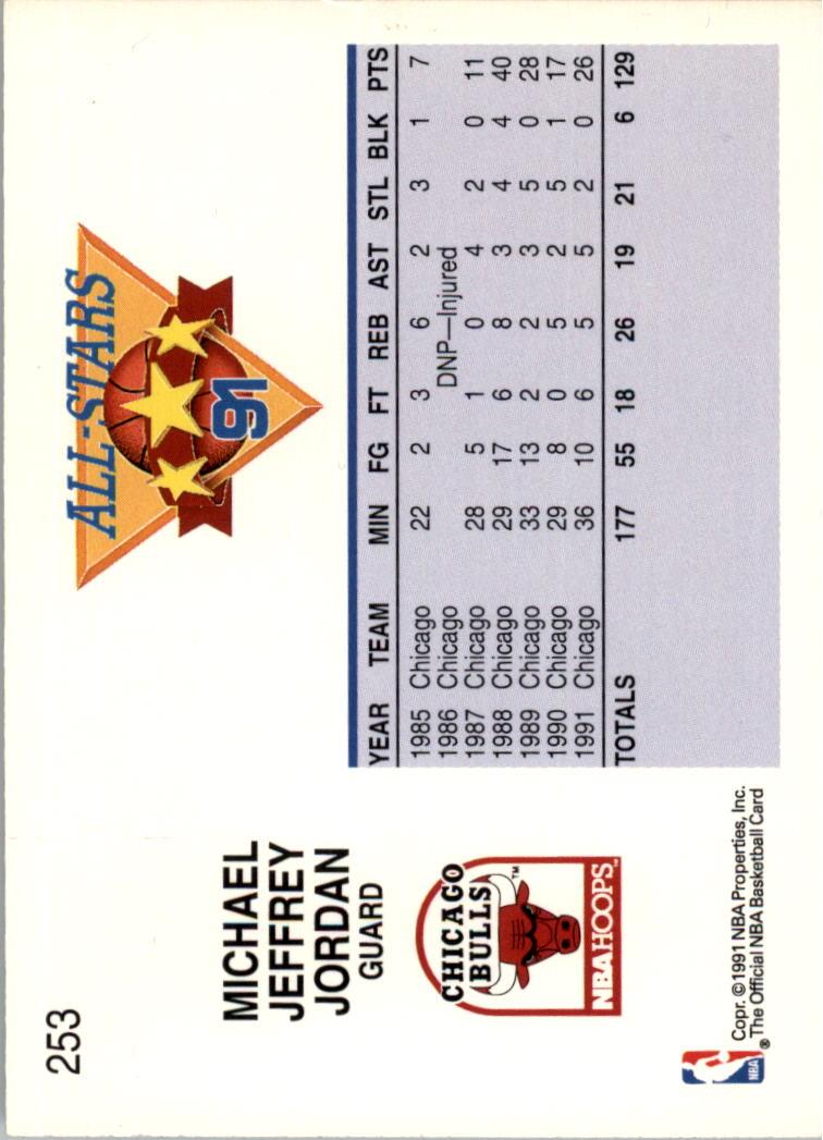 1991-92 Hoops #253 Michael Jordan AS back image