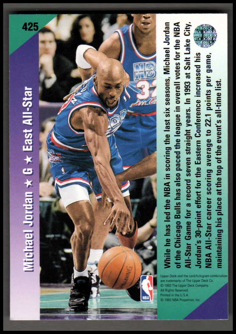 1992-93 Upper Deck #425 Michael Jordan AS back image