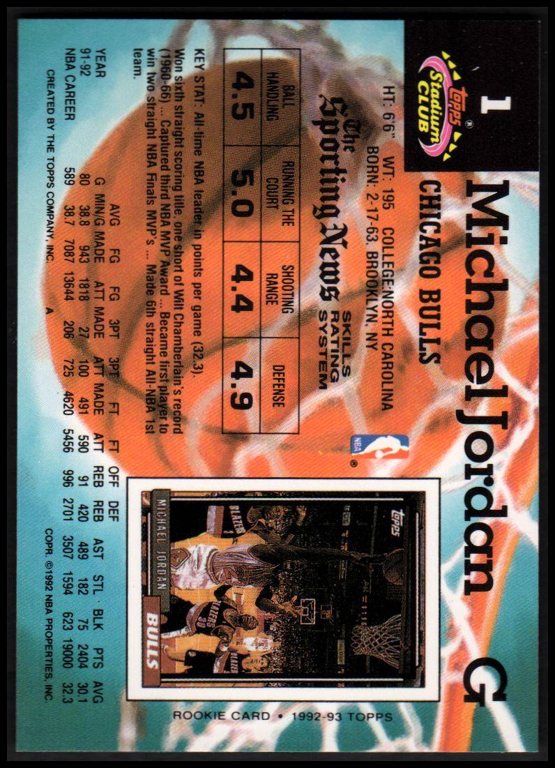 1992-93 Stadium Club #1 Michael Jordan back image