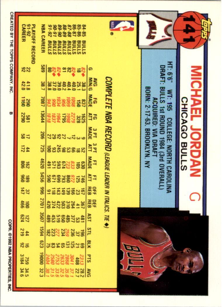 1992-93 Topps #141 Michael Jordan back image