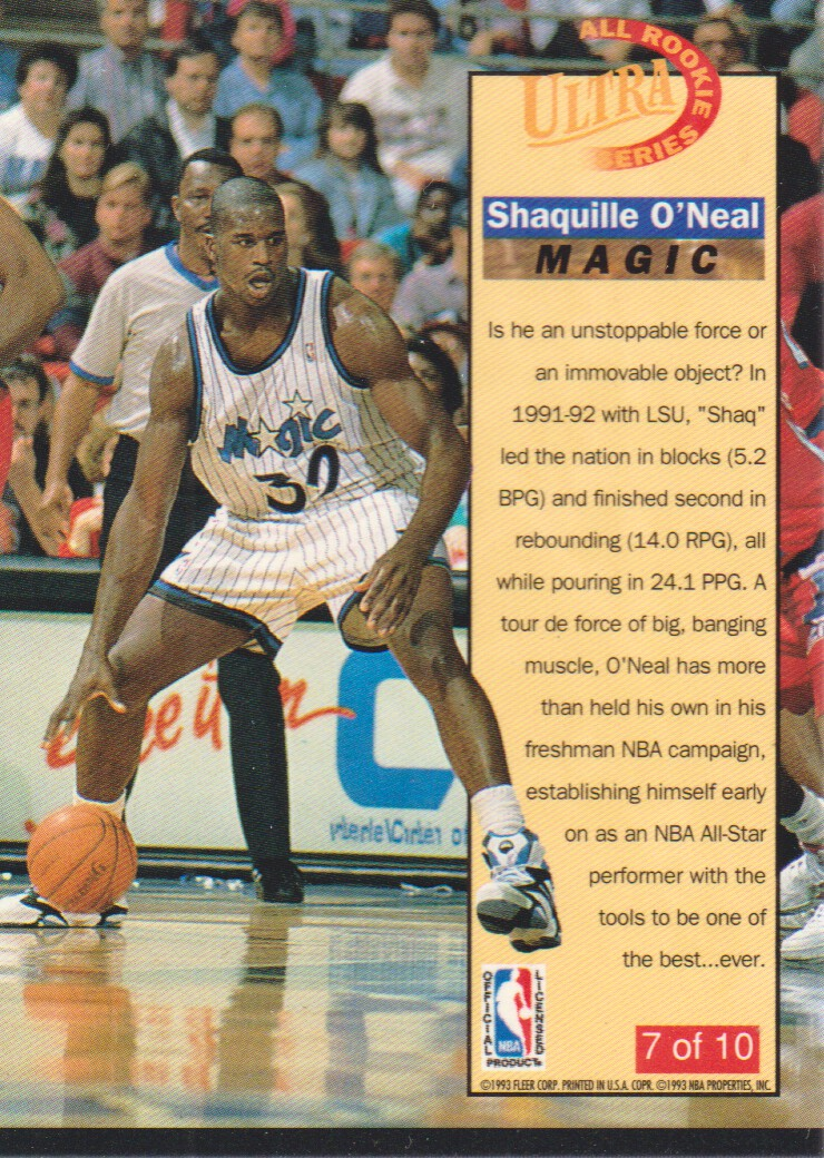 1992-93 Ultra All-Rookies #7 Shaquille O'Neal back image