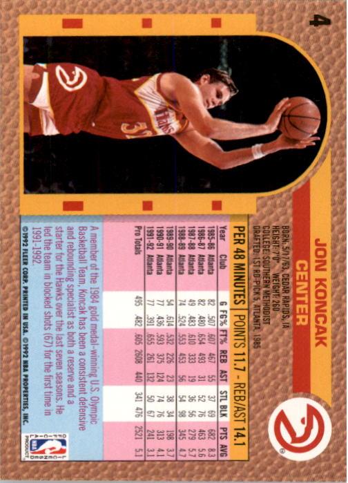 1992-93 Fleer #4A Jon Koncak#(Shooting pose on back back image