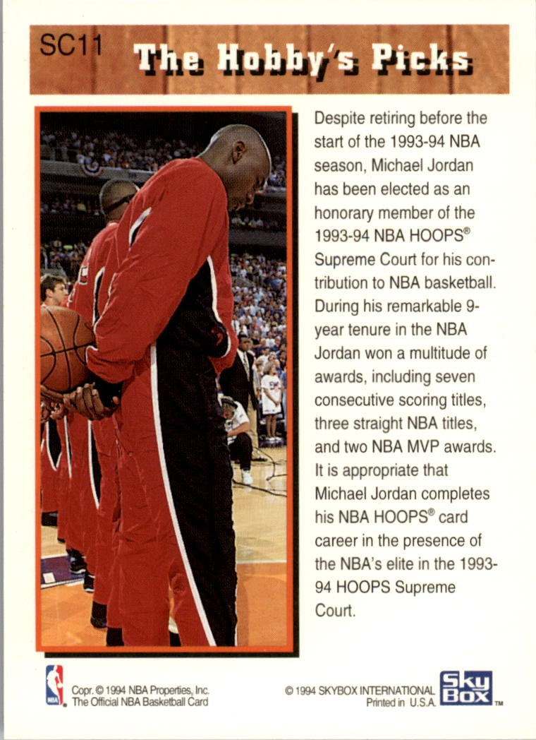 1993-94 Hoops Supreme Court #SC11 Michael Jordan back image