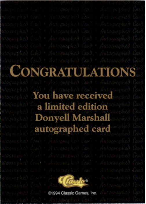 1994 Classic National Party Autographs #3 Donyell Marshall back image