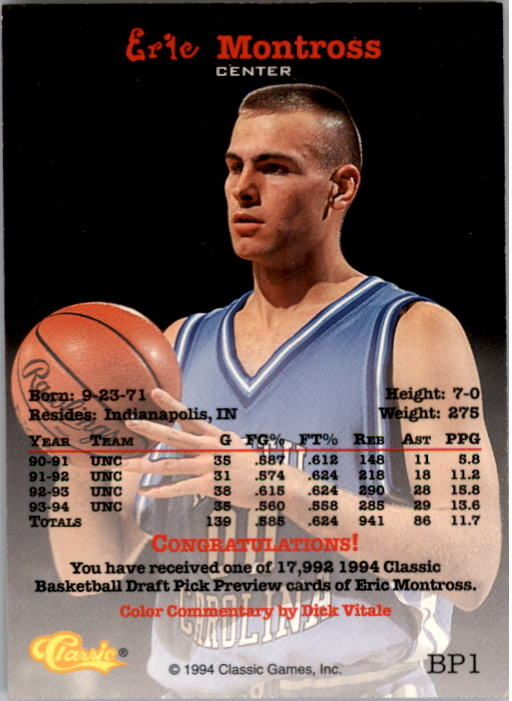 1994 Classic Previews #BP1 Eric Montross back image