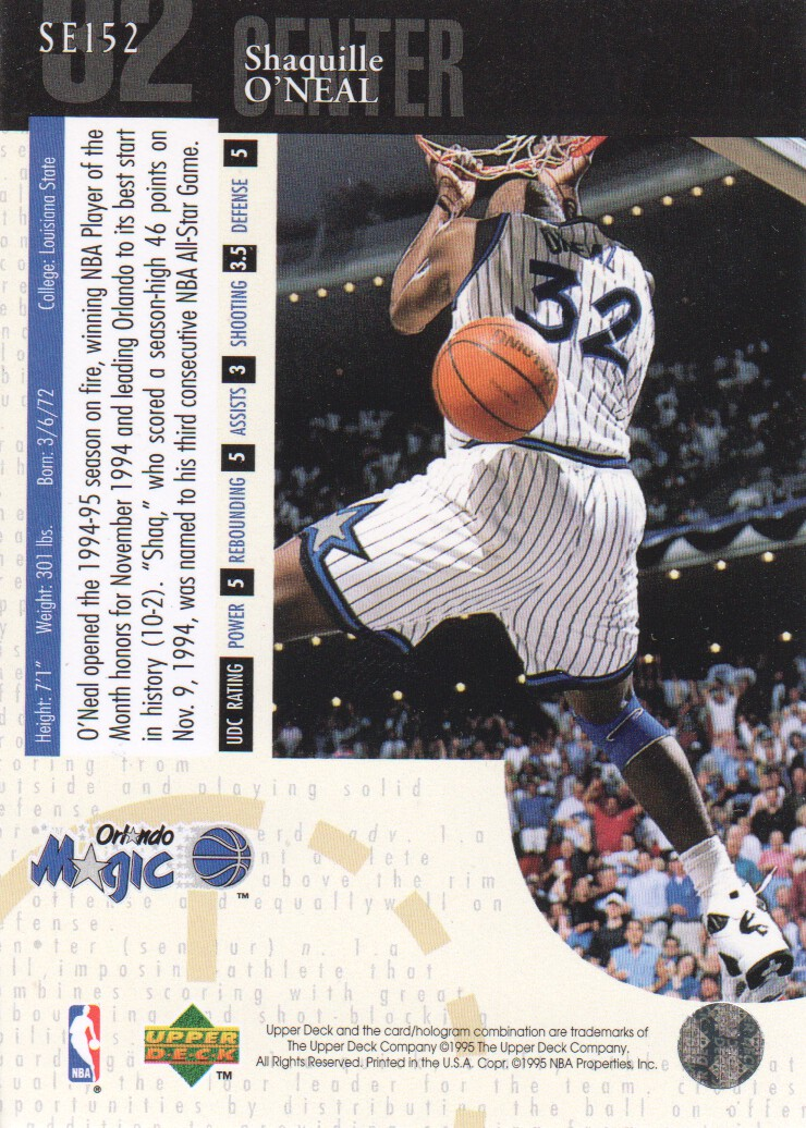 1994-95 Upper Deck Special Edition #152 Shaquille O'Neal back image