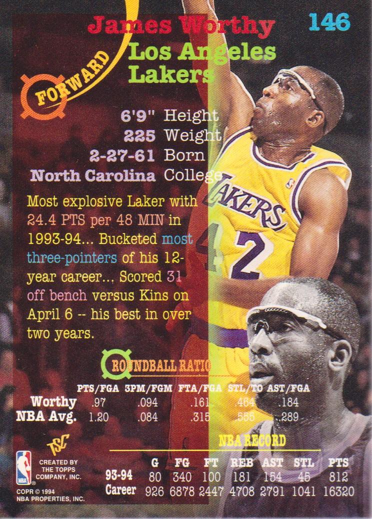 1994-95 Stadium Club Super Teams NBA Finals #146 James Worthy back image