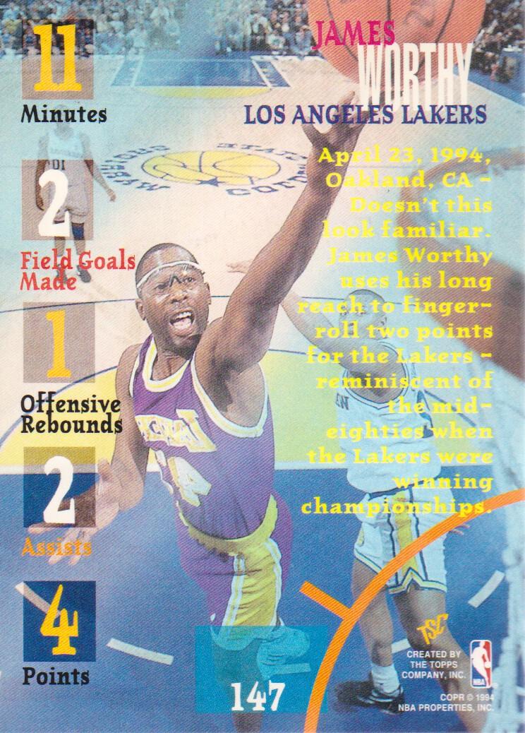 1994-95 Stadium Club Super Teams NBA Finals #147 James Worthy TG back image