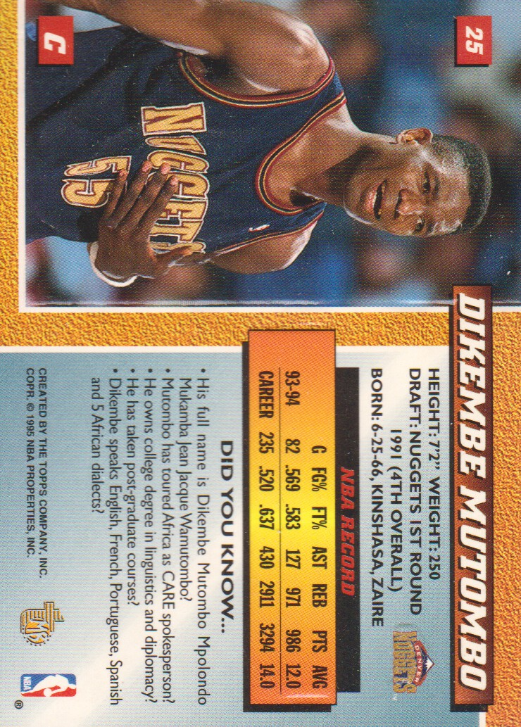 1994-95 Embossed Golden Idols #25 Dikembe Mutombo back image