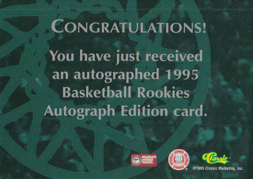 1995 Classic Autographs #14 Brent Barry/2690 back image