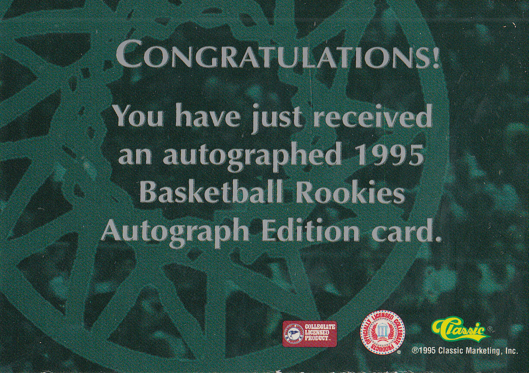 1995 Classic Autographs #16 Theo Ratliff/3310 back image