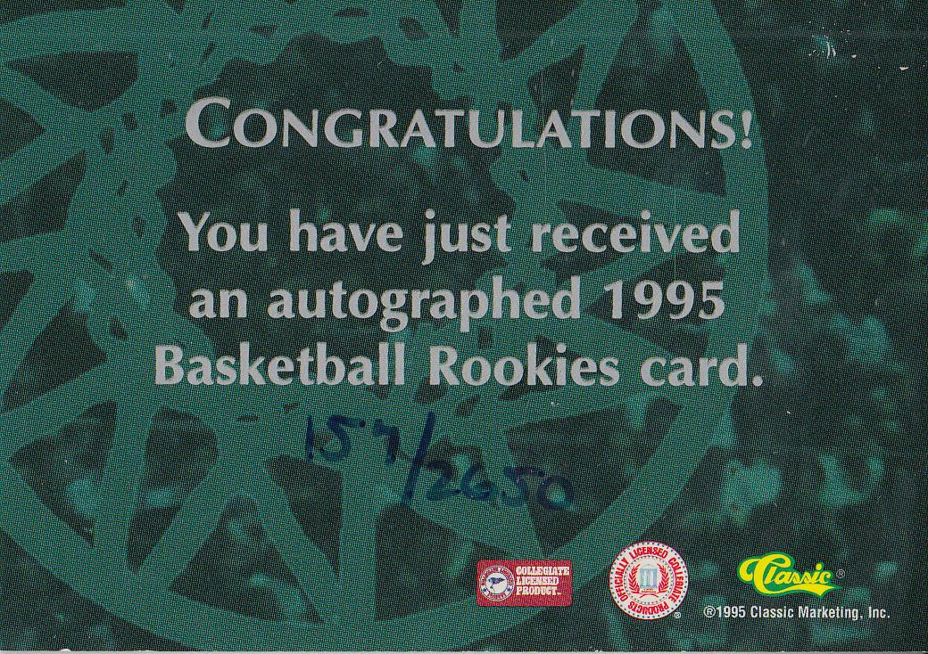 1995 Classic Autographs #20 George Zidek/2650 back image