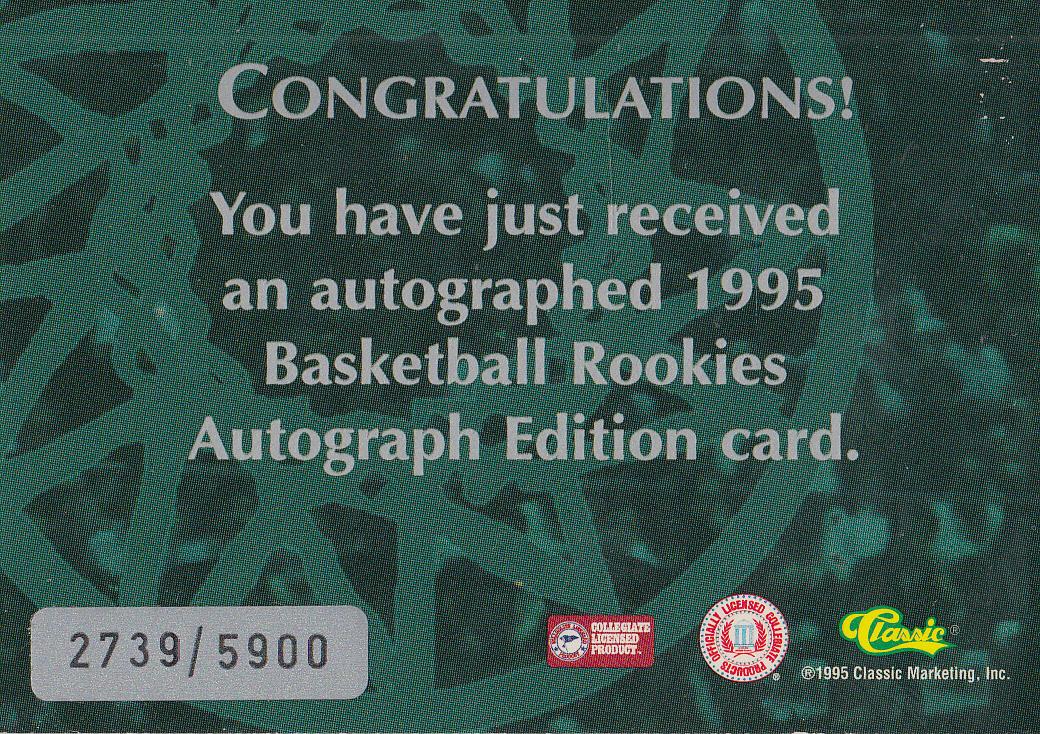 1995 Classic Autographs #27 Cory Alexander/3335 back image
